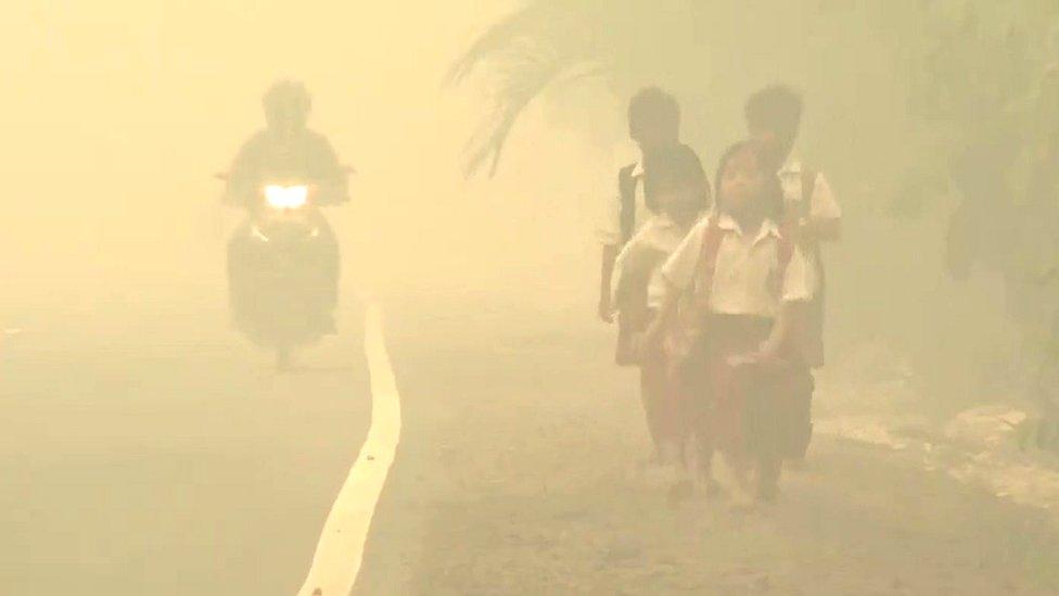 Children walking in haze
