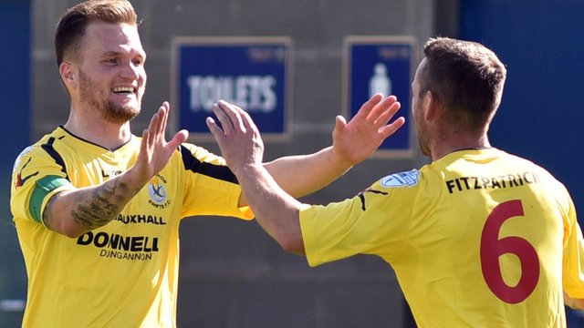 Ryan Harpur celebrates his goal which made it 2-0 to Dungannon Swifts against Warrenpoint Town