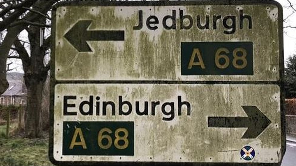 Dirty Jedburgh and Edinburgh sign