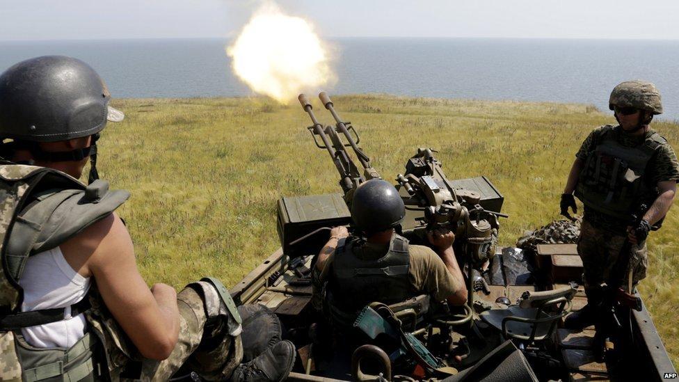 Ukrainian army troops firing anti-aircraft gun near Mariupol - July, 2015