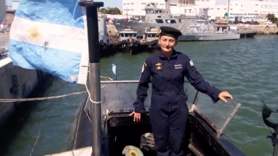 Maria Krawczyk, a submarine officer on board the Argentine navy submarine ARA San Juan, which went missing in the South Atlantic, is seen in this still image taken from a Ministry of Defense of Argentina video obtained by Reuters