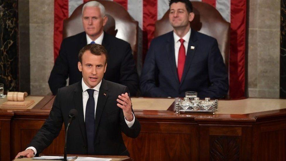 الرئيس الفرنسي يهاجم القومية في خطابه أمام الكونغرس الأمريكي