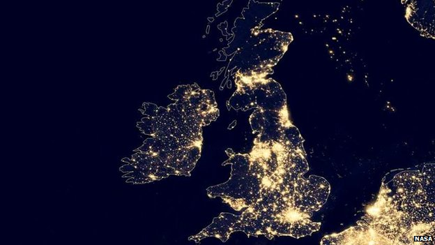 A night-time view of UK, 2012