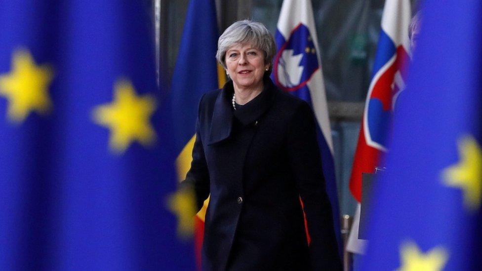 Theresa May arrives at the EU summit in Brussels in December 2017