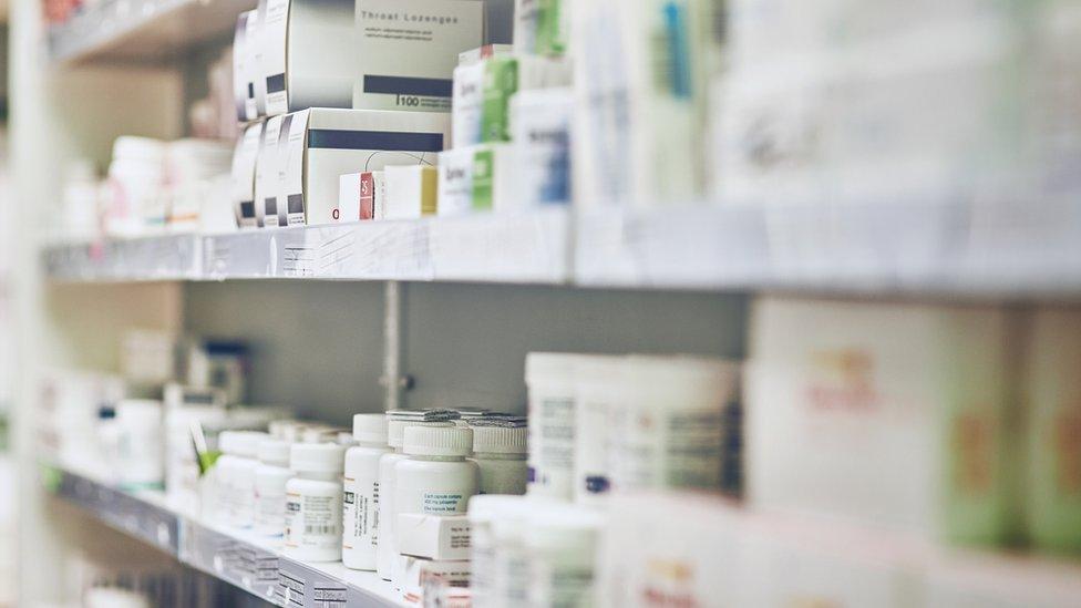 Drugs on a shelf
