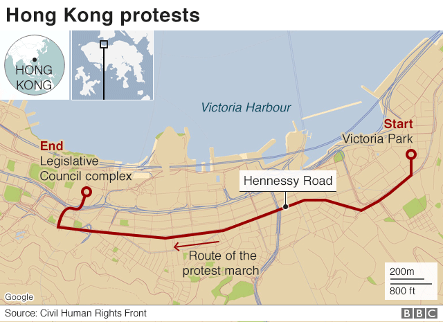 Route of Sunday's protests in Hong Kong