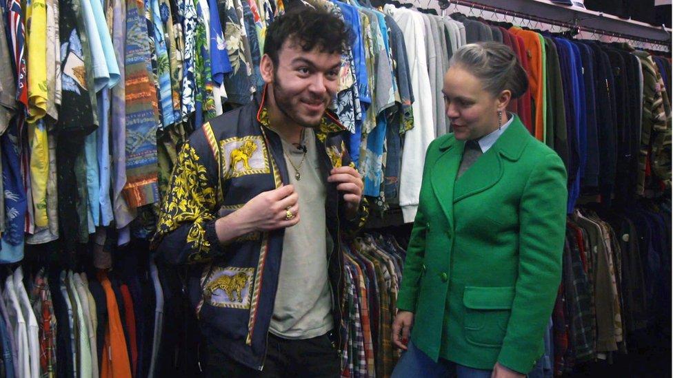 Marcus in a vintage shop jacket
