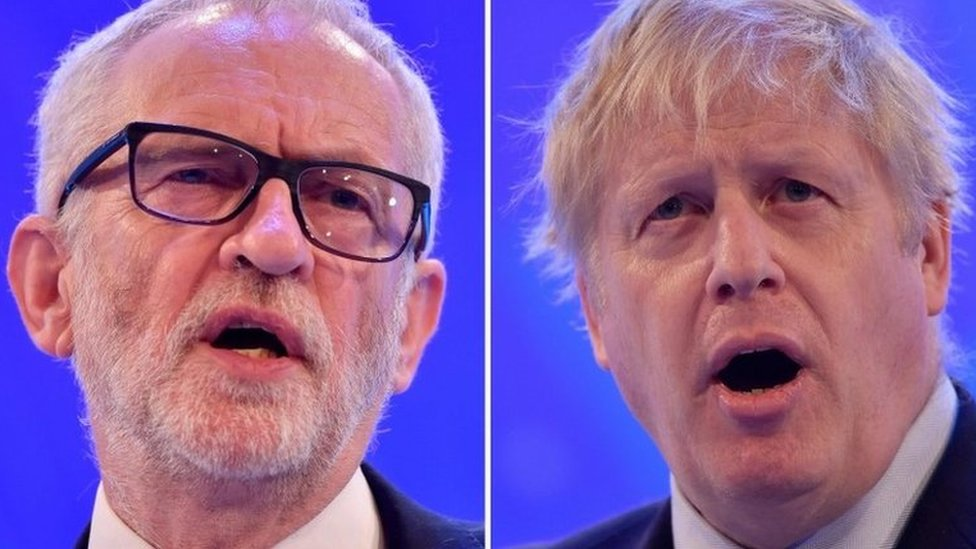 Ceannard nan Làbarach Jeremy Corbyn agus am Prìomhaire Boris Johnson