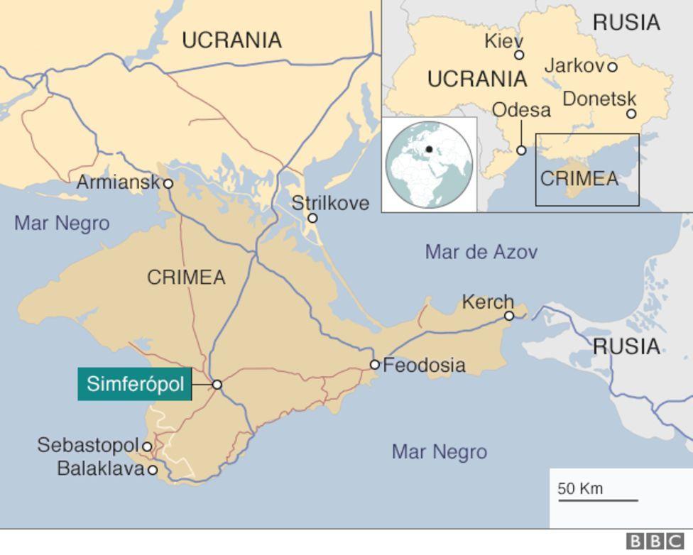 Mapa que muestra la enexión de Crimea por Rusia.