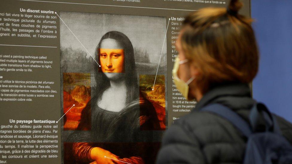 Poster de la Mona Lisa con explicaciones del cuadro