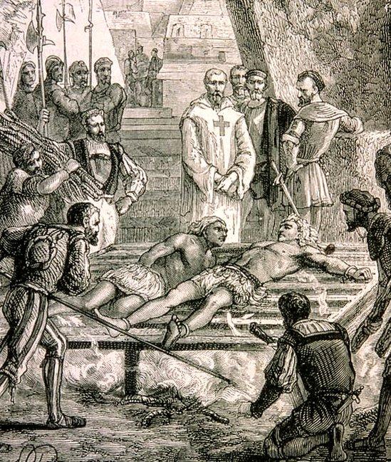 Ilustración de la tortura del emperador Cuauhtémoc