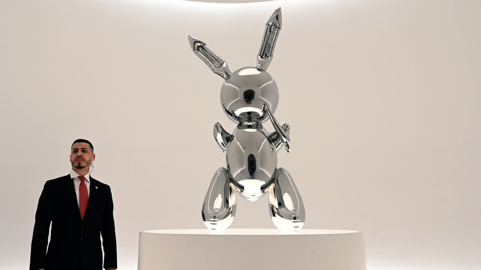 Rabbit by Jeff Koons on display ahead of its sale at Christie's Post-War and Contemporary Art