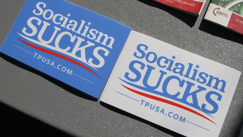 Some of the stickers on offer saying Socialism Sucks
