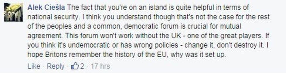 Facebook comments from Alek Ciesla