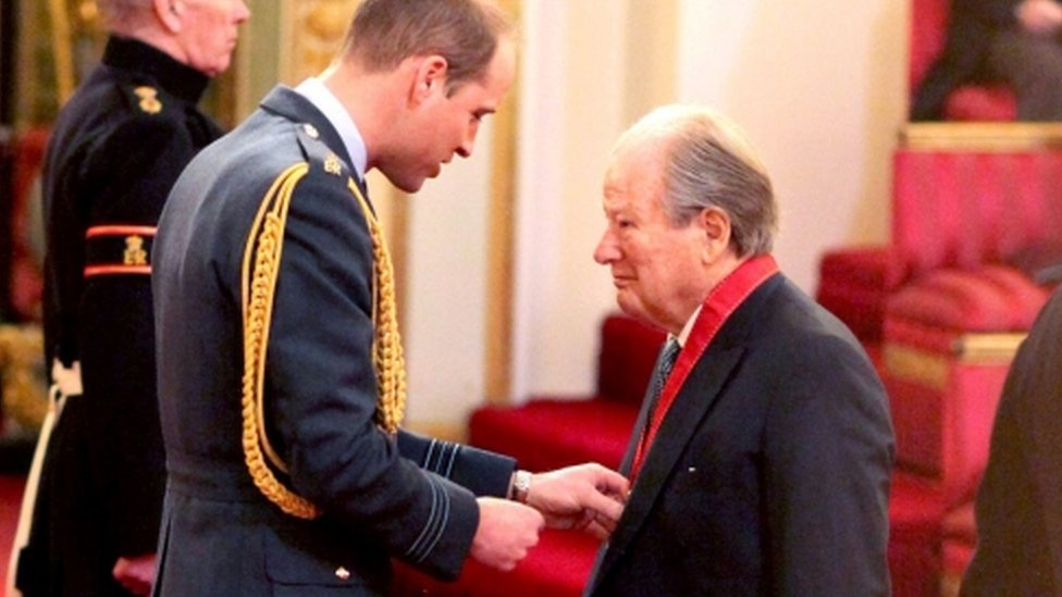 Sir Neville Marriner being made a Companion of Honour by the Duke of Cambridge at Buckingham Palace