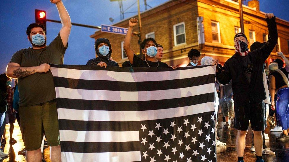 Demonstrators in Minneapolis