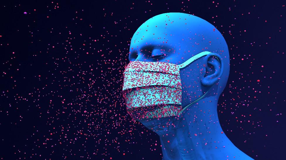 Ilustración de un hombre con una máscara rodeado de aerosoles