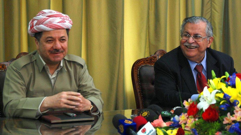 薩達姆政權倒台後,馬蘇德·巴爾扎尼(左)的KDP和賈拉爾·塔拉巴尼的PUK共享治理權。