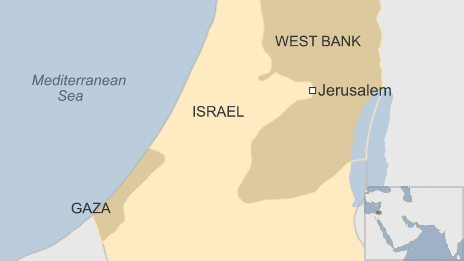 Map showing Israel, Gaza and the West Bank