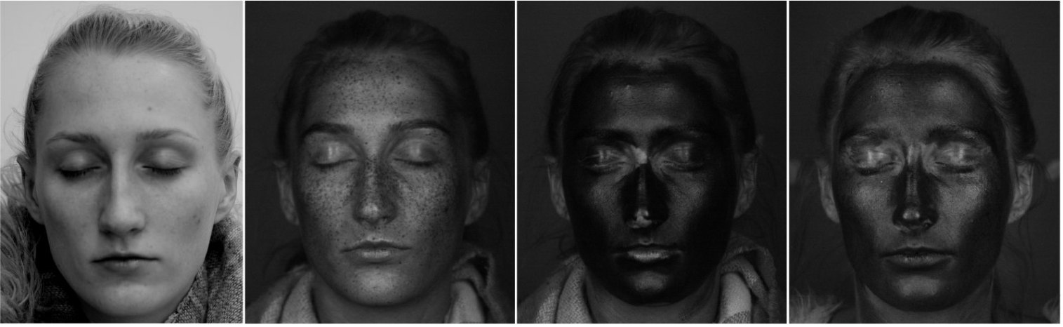 Faces under normal and UV light, showing how moisturiser and sunscreen are applied