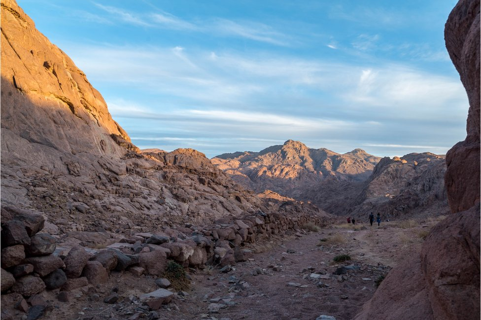 Jebel Katherina looms high over hikers on the Sinai Trail