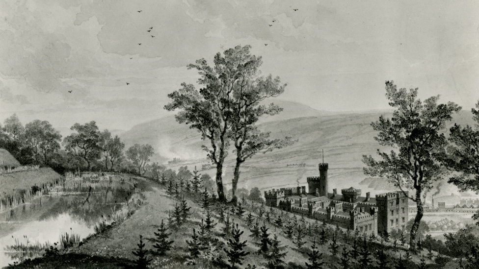 A watercolour by Penry Williams in 1825 showing Cyfarthfa Castle above Merthyr town