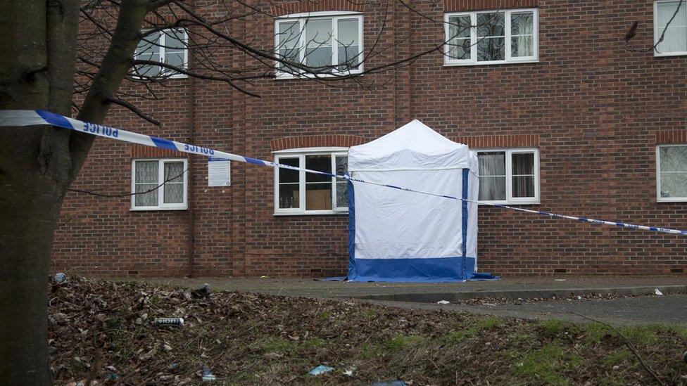Police cordon, near St George's Street, Northampton
