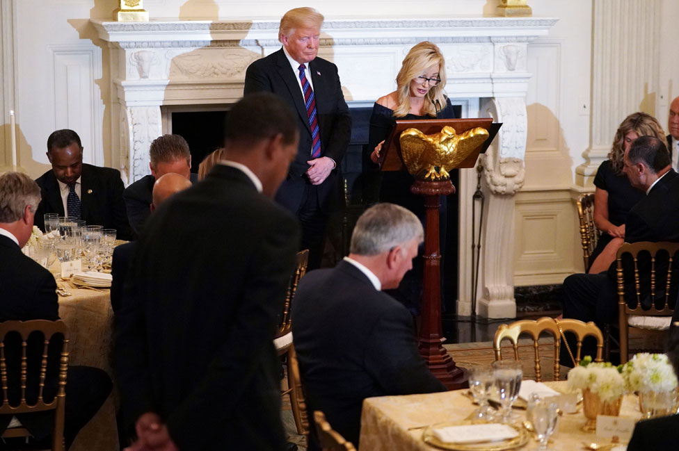 Paula White prays with Trump at the White House