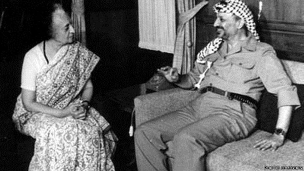 इंदिरा गांधी के साथ यासिर अराफ़ात
