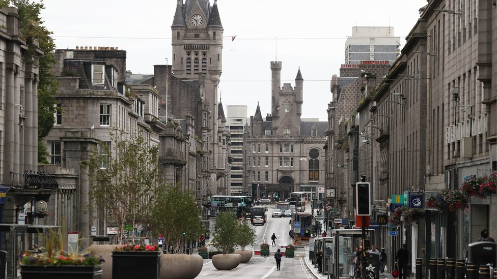 Union Street in Aberdeen after bars, cafes and restaurants have been ordered to close as lockdown restrictions are re-imposed in over a coronavirus cluster in the area