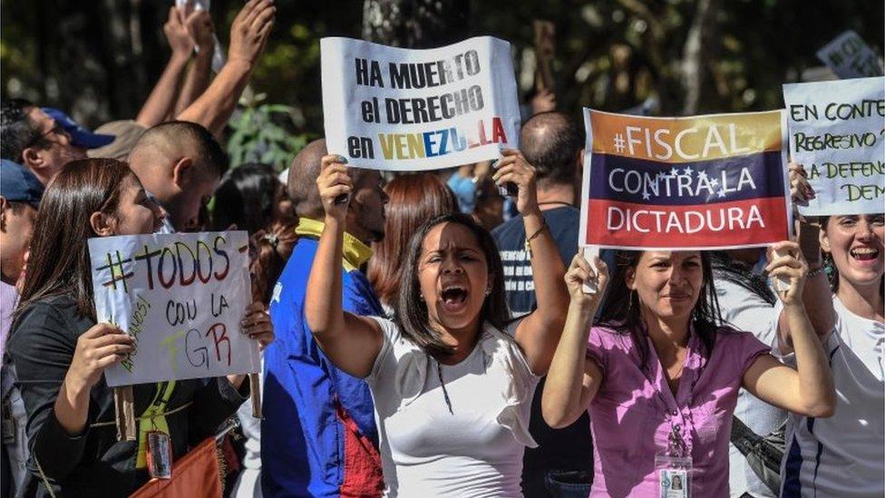 General Prosecutor's office employees demonstrate in support of Attorney General Luisa Ortega in Caracas on June 19 , 2017