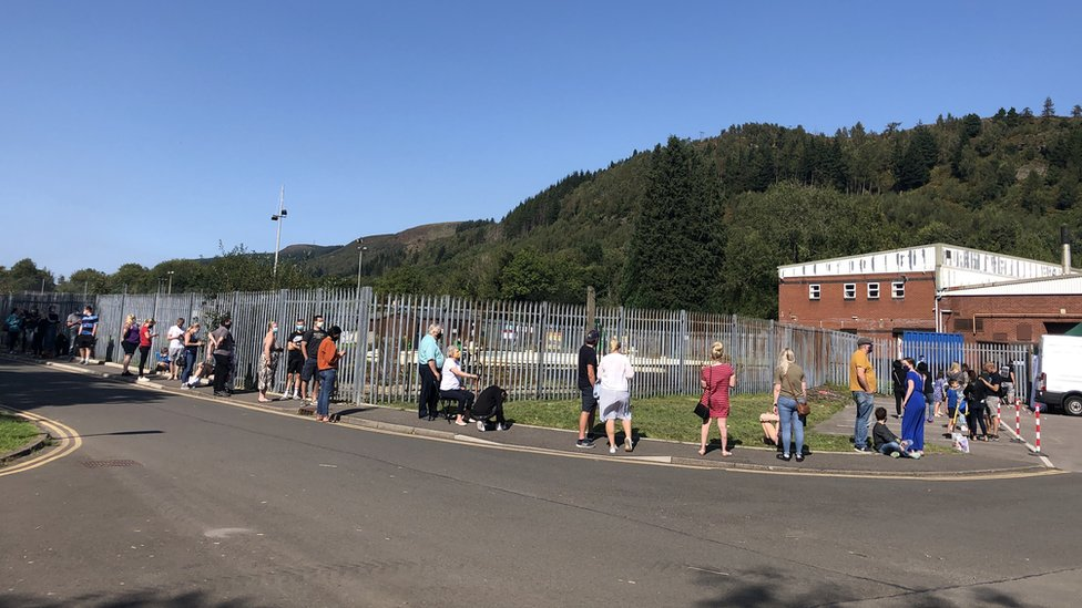 People queuing for covid test in Abercynon. Rhondda Cynon Taf