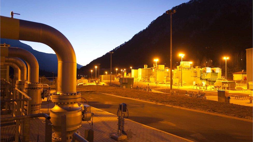 Snam gas compressor stations in Malborghetto, Italy