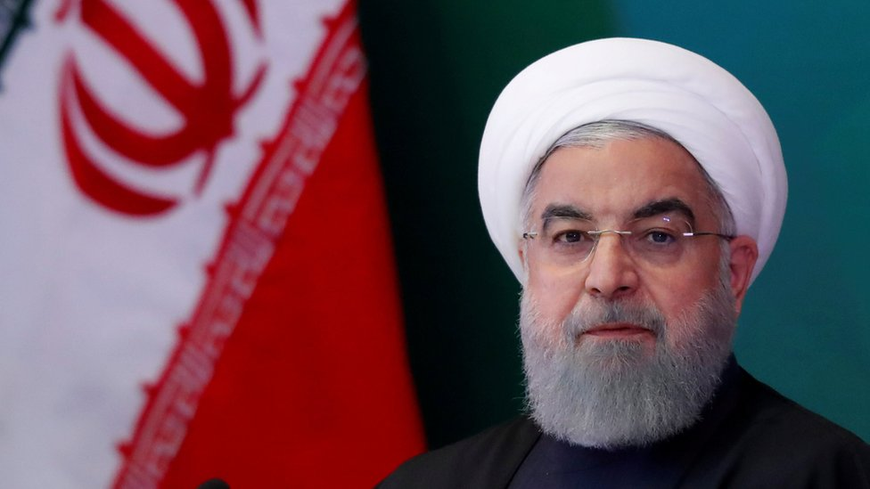 Iranian President Hassan Rouhani attends a meeting with Muslim leaders and scholars in Hyderabad, India, February 15, 2018