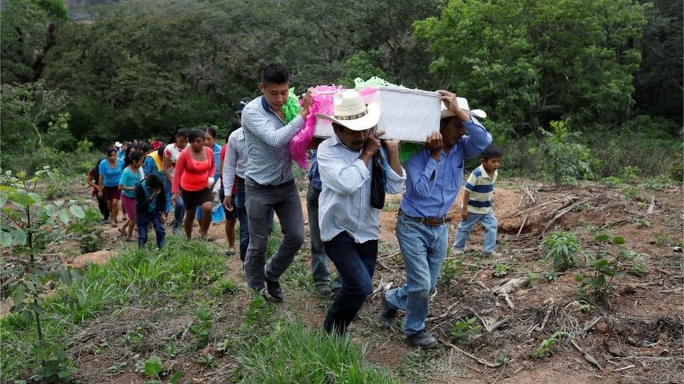 Relatives and friends lower the coffin with the body of 2-1/2-year-old Guatemalan migrant Wilmer Josue Ramirez, who was detained last month at the U.S.-Mexico border but released from U.S. custody with his mother during treatment for an illness, during his funeral at a cemetery in the village of Olopa, Guatemala May 26, 2019