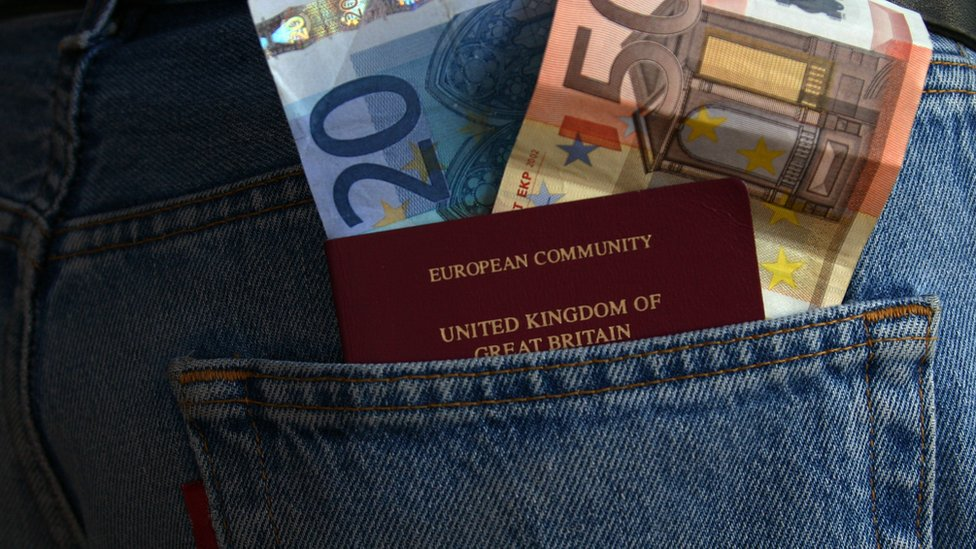 Passport and euros in pocket