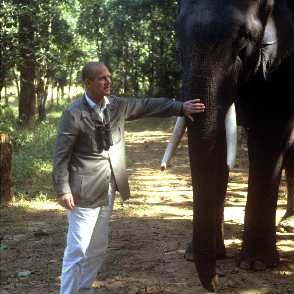 الأمير فيليب مع فيل في الهند