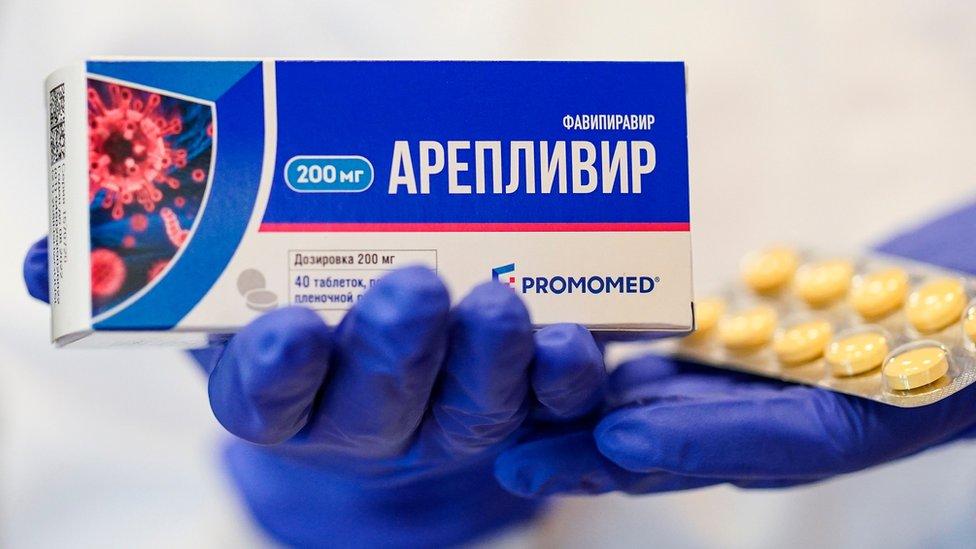Caja de faviripir producido en Rusia