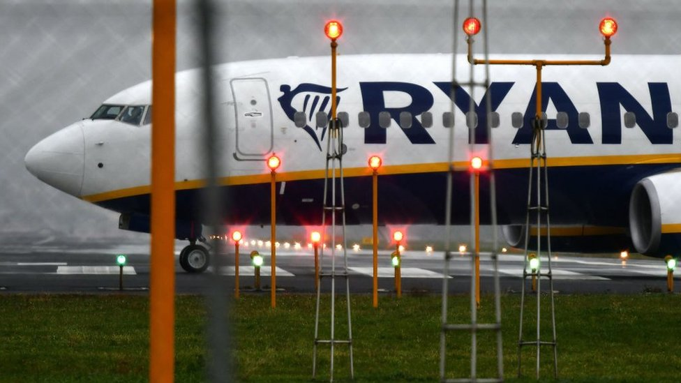 Front part of Ryanair plane on ground at Ciampino airport, Italy