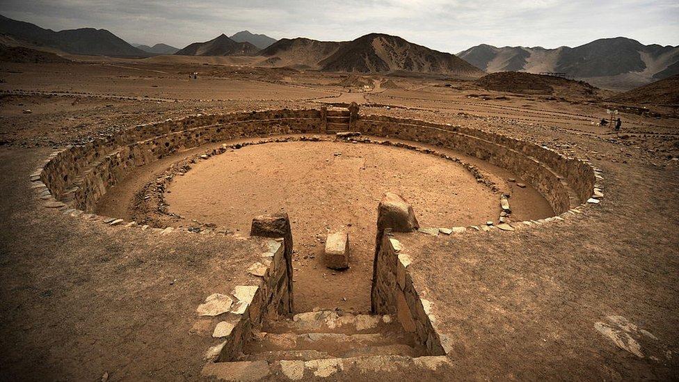 Una vista aérea de Caral, en Perú