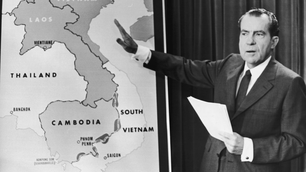 Nixon, shown with a map of Thailand