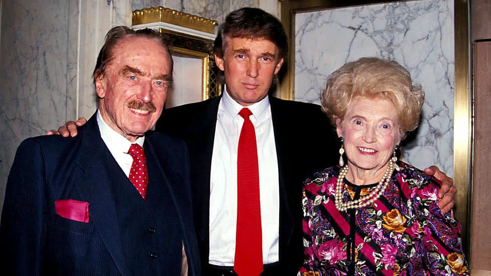 Donald Trump with his parents in 1992