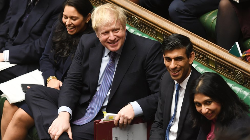 Boris Johnson was sat with his new Chancellor, Rishi Sunak, on the frontbench