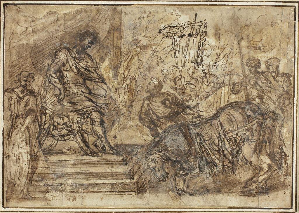 Calígula nombrando a su caballo Incitatus para el Consulado. (En el estilo de Pietro da Cortona 1596-1669).