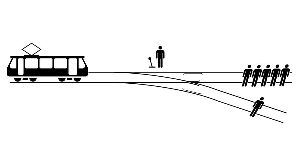 Ilustración del dilema ético del tranvía