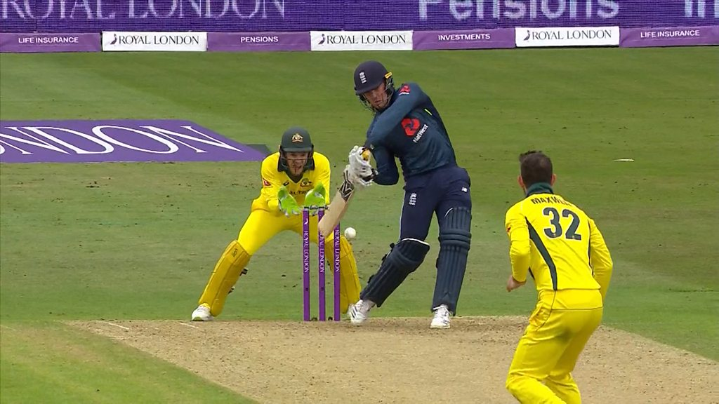 England v Australia: Jason Roy hits 'enormous' six to bring up 100 for England against Australia