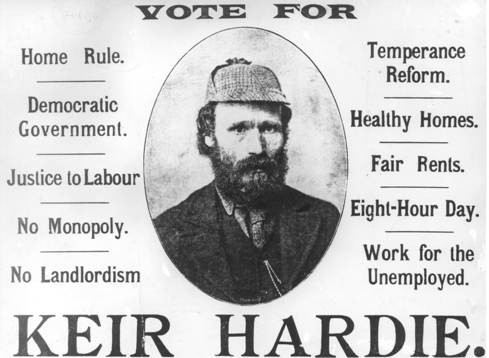 An election campaign poster for Scottish socialist and labour leader James Keir Hardie (1856 - 1915).
