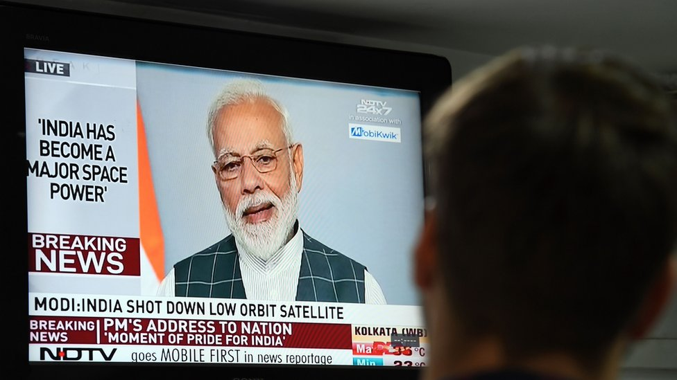 Indian PM addresses the nation after the country carries out an anti-satellite missile test