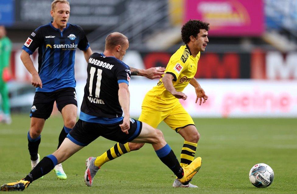 Borussia Dortmund (yellow) v Paderborn, 31 May 20