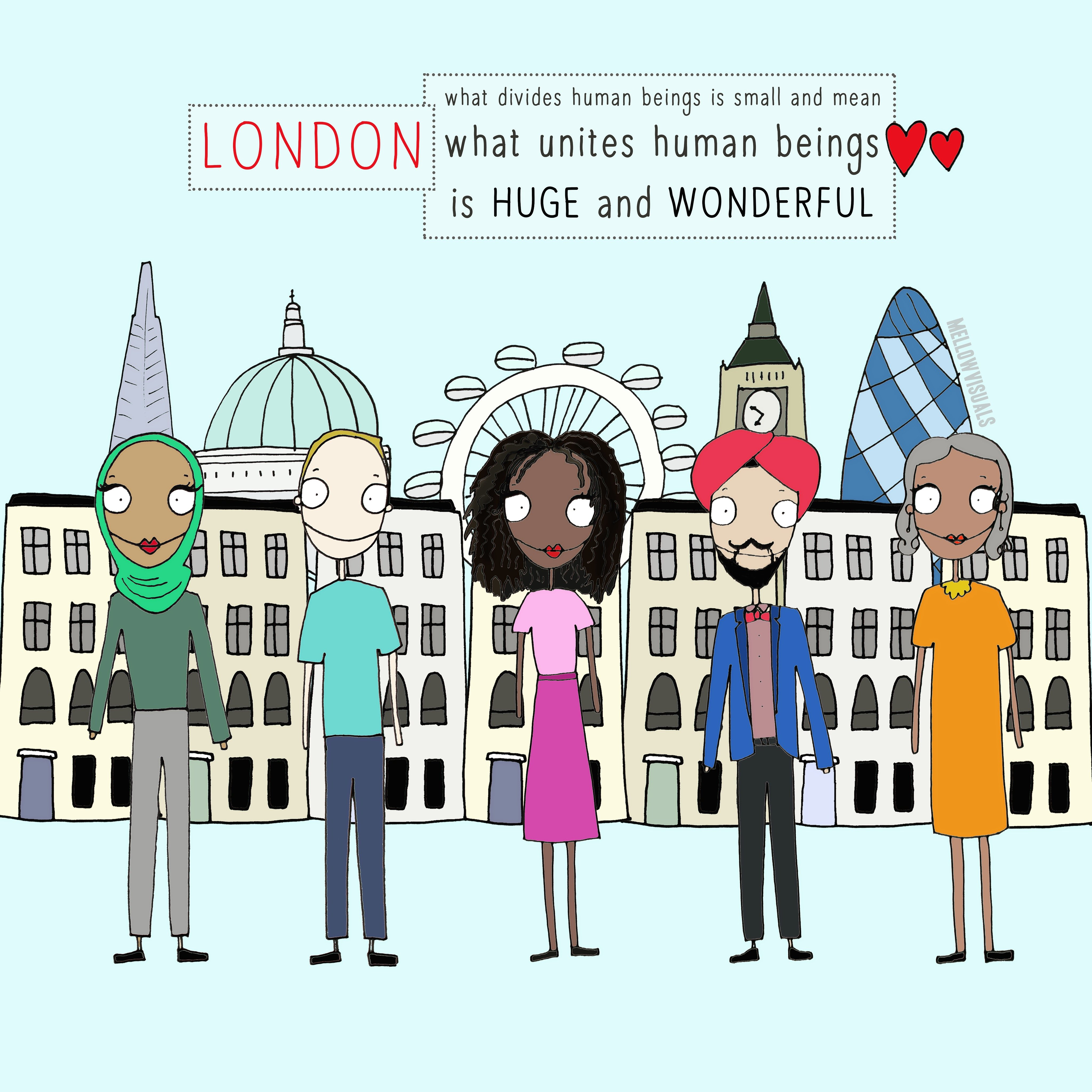 Image sent to us by Mellow Visuals showing people of different faiths standing in London